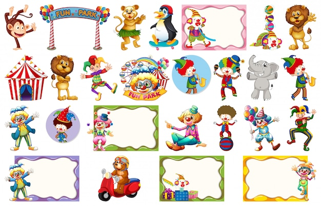 Set of different circus objects, animals and frames