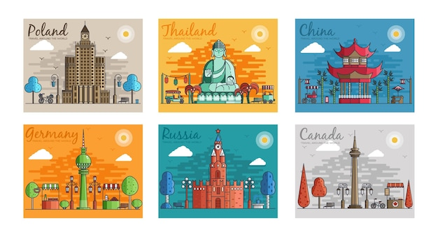 Set of different cities for travel destinations