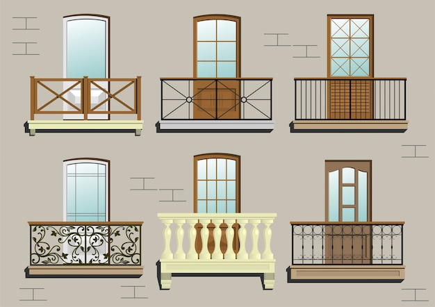 Set of different classical balconies  in vector graphics.