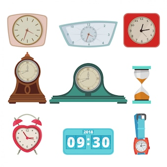 Set of different clocks and hand watches isolate on white