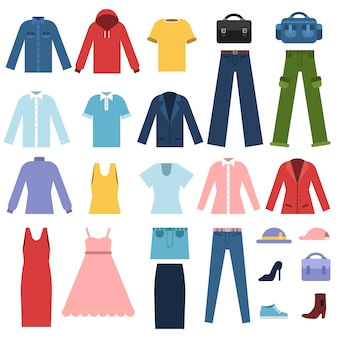 Set of different clothes for male and female isolated