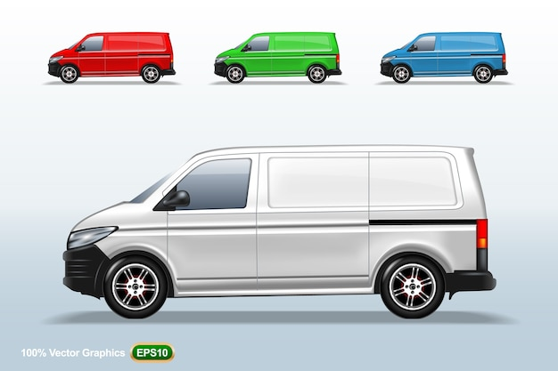 Set of different color delivery van template, editable layout.