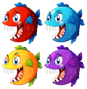 Set of different color exotic fish with big eyes cartoon character on white background