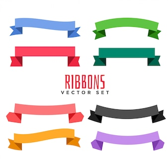Set of different color flat ribbons