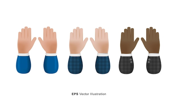 Set of different color hands up gesture 3d vector cartoon illustration isolated on white background