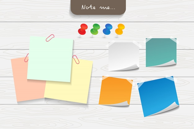 Set of different color note papers and tape elements.