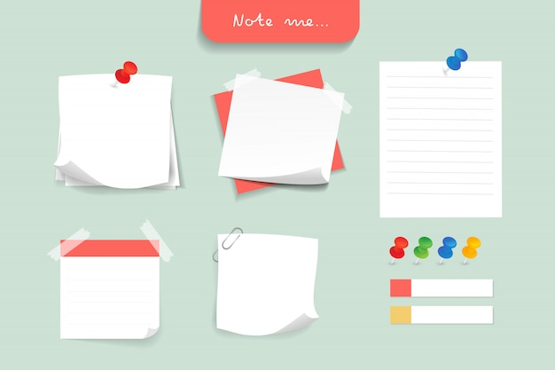 Set of different color note papers.