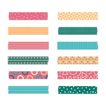 Set of different colored flat washi tapes