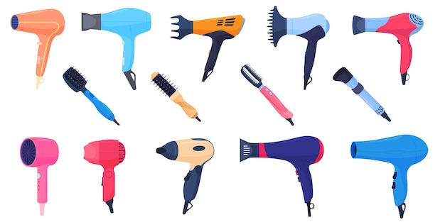 A set of different colored hair dryers
