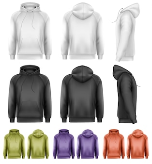 Set of different colored male hoodies.
