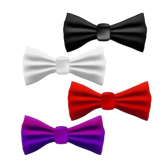 Set of different colorful realistic bow tie on white