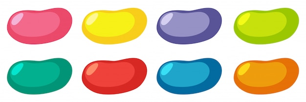 Set of different colors jelly beans on white background