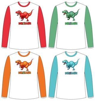 Set di schermo di dinosauro di colore diverso su t-shirt a maniche lunghe