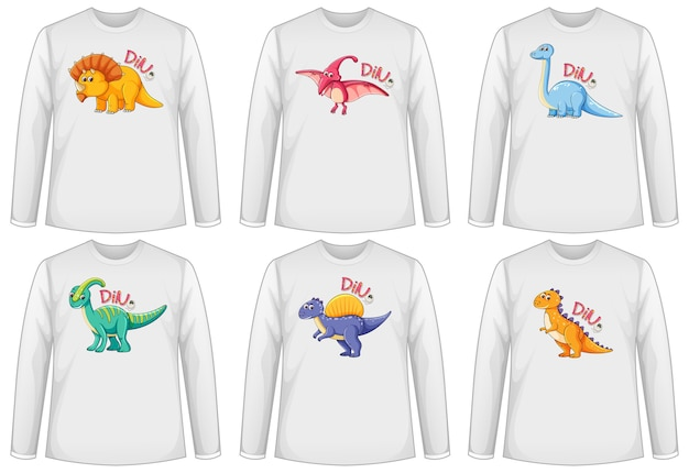 Set of different colour dinosaur screen on long sleeve t-shirt