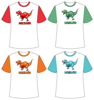 Set of different colour dinosaur screen on t-shirts