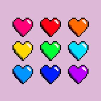 異なる色のpxelハートを設定する