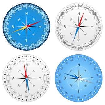 Set of different compasses