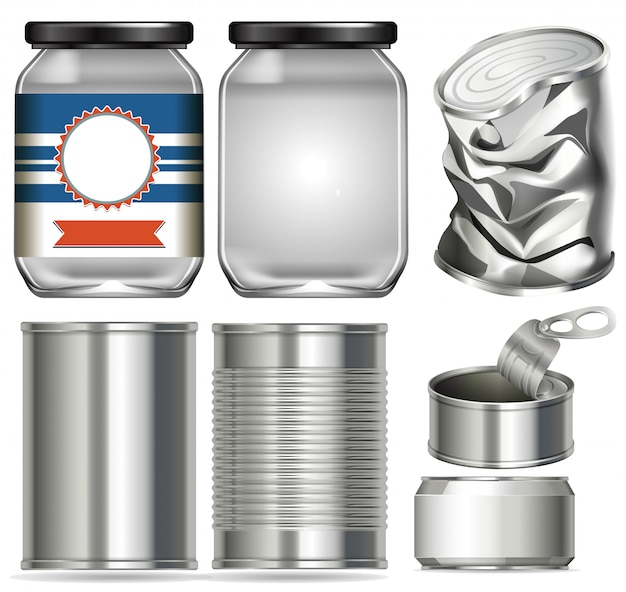 Set of different containers made of glass and aluminium