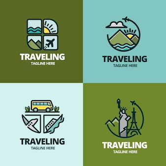 Set of different creative logos for traveling companies