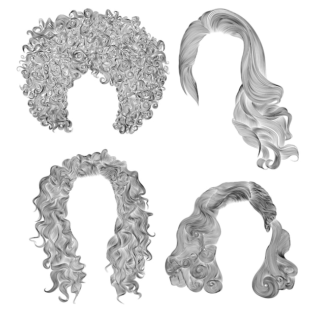Set of  different curly hairs . fashion beauty african style . fringe  pencil drawing sketch .