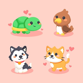 Set of different cute animals