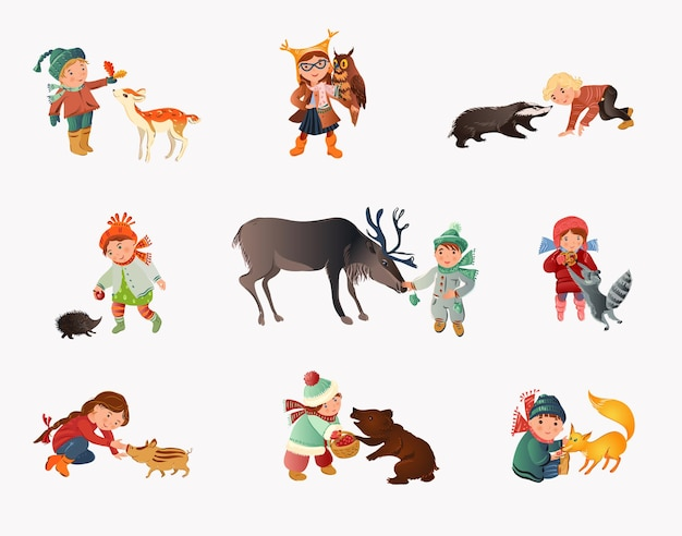 Set of different cute children in autumn clothes with forest animals