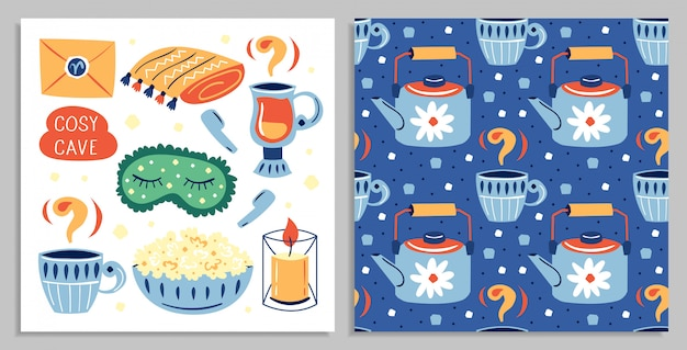 Set of different cute lifestyle items on postcard. flat colourful   illustration icon isolated
