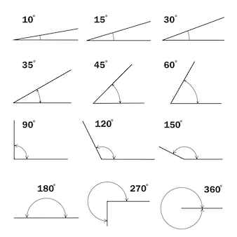 Set of different degrees angles geometric mathematical degree angle with arrow icon isolated