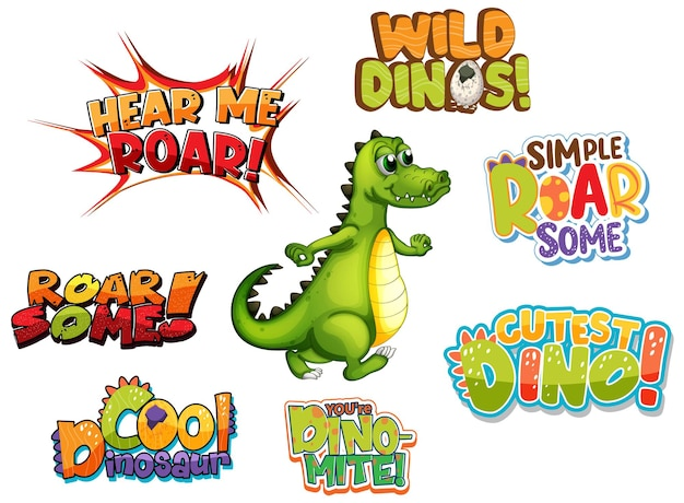 Set of different dino word typography design with cute dragon cartoon character