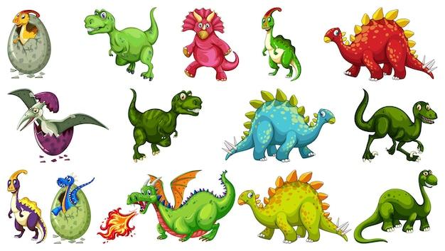 Set di diversi personaggi dei cartoni animati di dinosauro isolati su sfondo bianco
