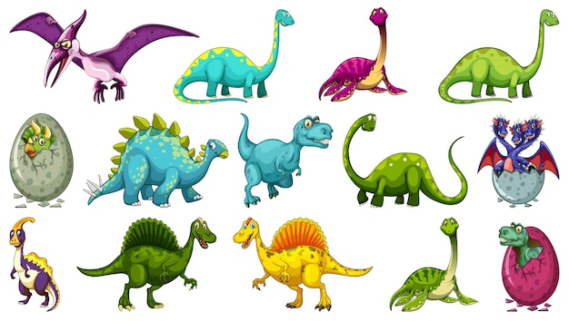 Set of different dinosaur cartoon character isolated on white background Free Vector