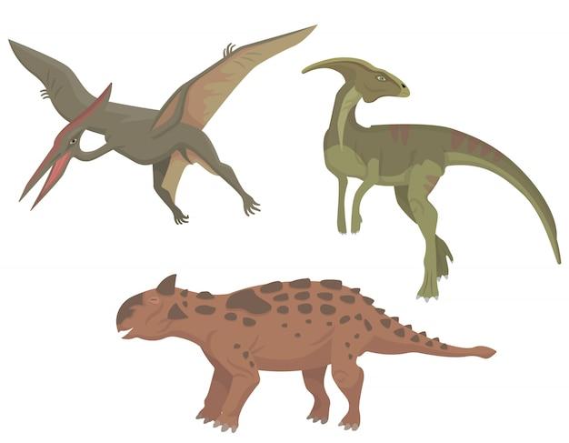 Set of different dinosaurs. parasaurolophus, pterodactylus and talarurus in cartoon style.