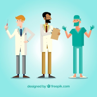 Set of different doctors working