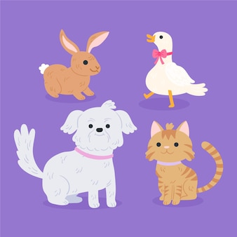 Set of different domestic pets