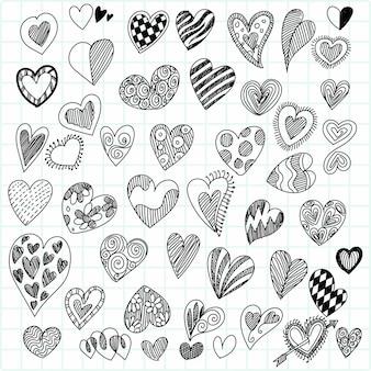 Set of different doodle hearts sketch design