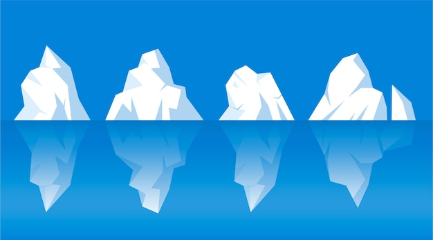 Set of different drawn icebergs