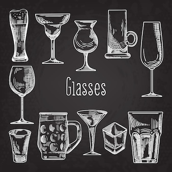 Set of different drink glasses