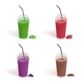 Set of different drinks in plastic cup with lid and straws. smoothies with blueberries, strawberries, kiwi, chocolate. vector colorful collection on white background in flat style.