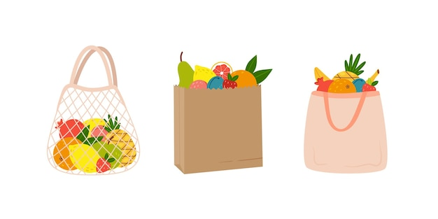 Set of different eco bags with seasonal fruits handdrawn in cartoon style