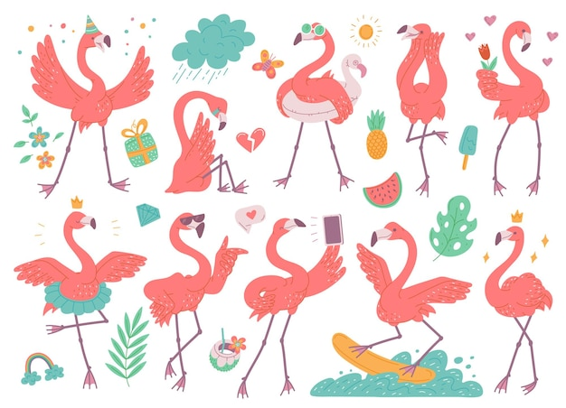 Set different emotion pink flamingos cartoon characters flat illustration isolated on white background.