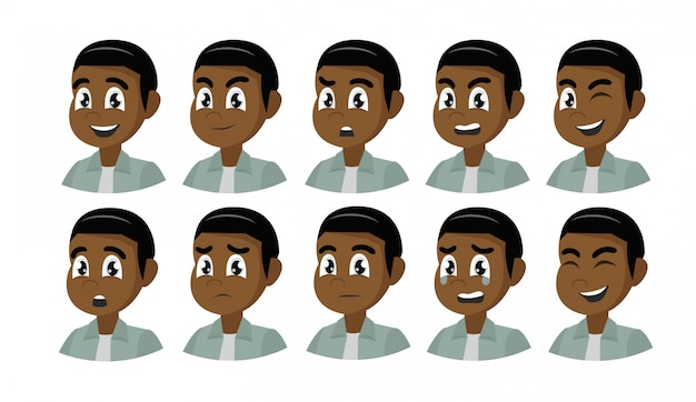Set of different emotions african male character.