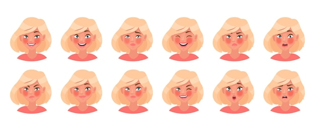 Set of different emotions of a female character. beautiful girl emoji with a variety of facial expressions. in cartoon style