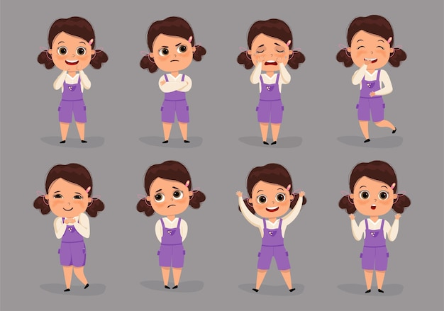 Set of different emotions female character cute kid girl.