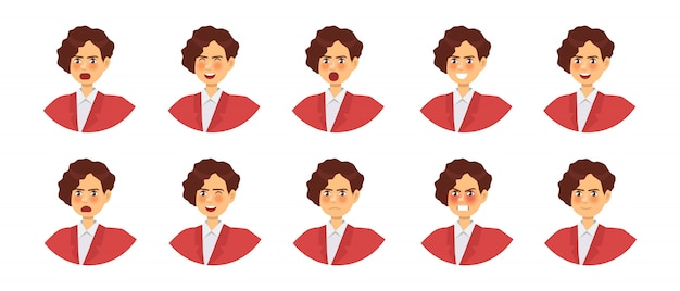 Set of different emotions female character. emoji with various facial expressions.