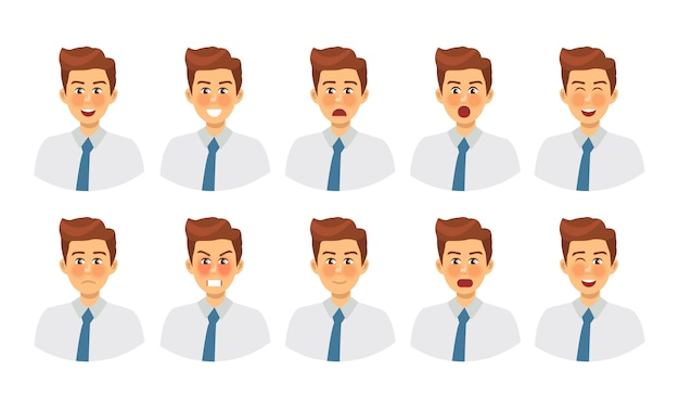 Set of different emotions male character. emoji with various facial expressions.