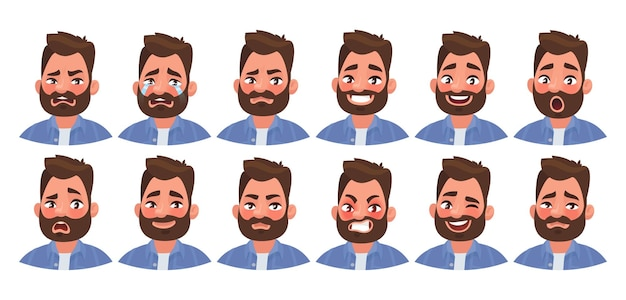 Set of different emotions male character. handsome man emoji with various facial expressions. in cartoon style
