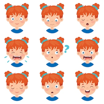 Set of different expressions of kids