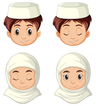 Set of different face of arab  in traditional clothing