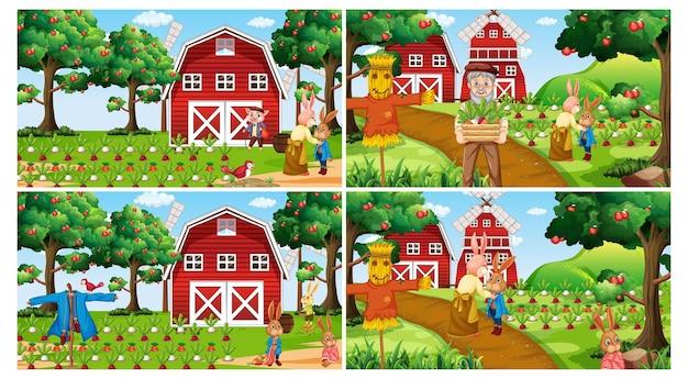 Set di diverse scene di fattoria durante il giorno