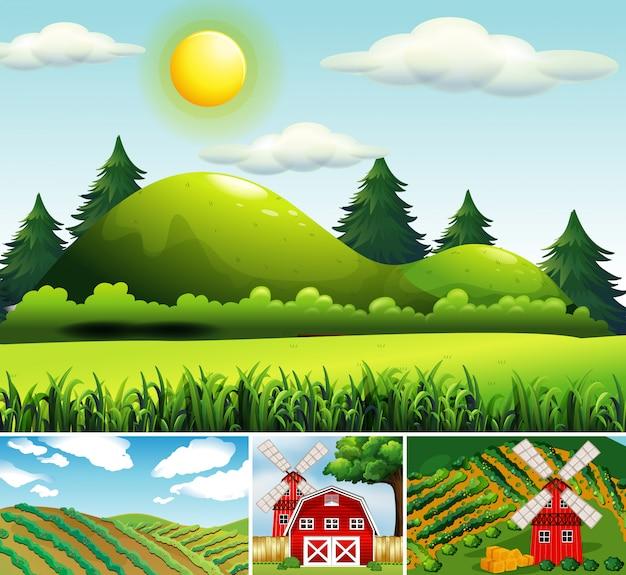 Set of different farm scenes cartoon style